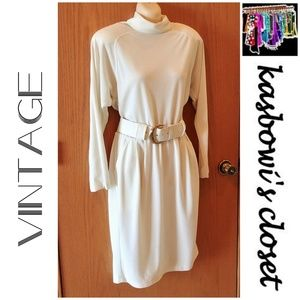 VINTAGE Cream Knit Turtleneck Dress Size 10